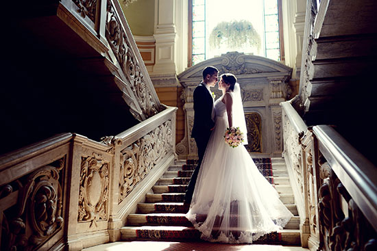 wedding-day-couple-on-stairs